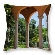 A Covered Walkway At The Biltmore Throw Pillow