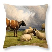 A Cow And Five Sheep Throw Pillow