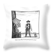 A Cowboy With A Dog Speaks To His Opponent Throw Pillow