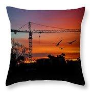 A Crane And Three Birds Throw Pillow