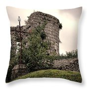 A Cross In The Ruins Throw Pillow