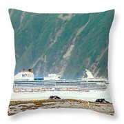 A Cruise Ship Passes By A Wolf Roaming Throw Pillow