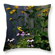 A Cute Couple Of Yellow Finches Throw Pillow