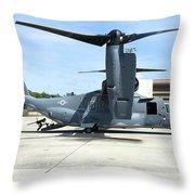 A Cv-22b Osprey On The Ramp At Hurlburt Throw Pillow