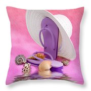 A Day At The Beach Still Life Throw Pillow