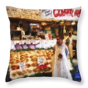 A Day At The Fish Market Throw Pillow