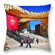 A Day At The Parasol Metropol Throw Pillow