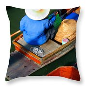 A Day At Work On A Thai Canal Throw Pillow