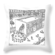A Day Care Is Seen With Children Riding Throw Pillow