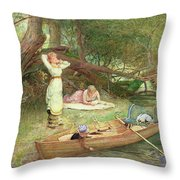 A Day On The River Throw Pillow