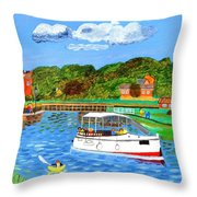 A Day On The River In Exeter Throw Pillow