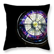 A Dazzling Stained Glass Gem Emerging From The Darkness Throw Pillow