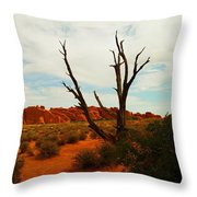 A Dead Tree Foreground A Maze Of Rocks Throw Pillow