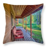 A Deck By The Methow River At Cottonwood Cottage Throw Pillow