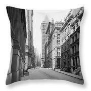 A Deserted Wall Street Throw Pillow