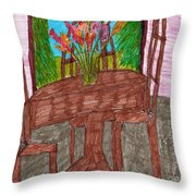 The Leaning Table Throw Pillow