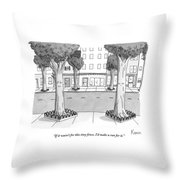 A Disgruntled Tree Looks At The Small Fence Throw Pillow by Zachary Kanin