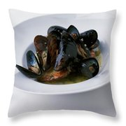 A Dish Of Mussels Throw Pillow