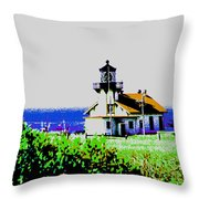 A Distant Light House Throw Pillow