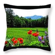 A Distant Mount Ascutney Throw Pillow