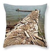 A Dock Covered With Driftwood Throw Pillow