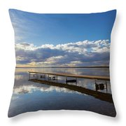 A Dock Leading Out Into The Lake At Throw Pillow