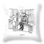 A Doctor Inspects A Royal Canadian Mounted Throw Pillow