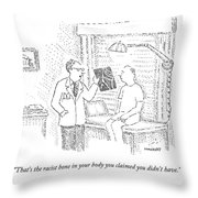A Doctor Shows A Patient An X-ray Throw Pillow