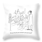 A Doctor Speaks To A Man Who Sits In The Clinic Throw Pillow by Victoria Roberts
