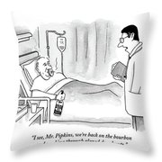 A Doctor Speaks To A Patient In A Hospital Bed Throw Pillow