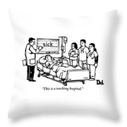 A Doctor Writes The Word Sick On A Blackboard Throw Pillow