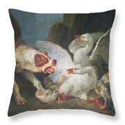 A Dog Attacking Geese, 1769 Oil On Canvas Throw Pillow