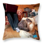 A Dog Stands At The Feet Of Its Owner Throw Pillow