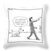 A Dog Thinks To Himself As A Woman Throws A Ball Throw Pillow