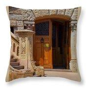 A Door In Monaco Throw Pillow