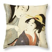 A Double Half Length Portrait Of A Beauty And Her Admirer  Throw Pillow