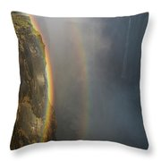 A Double Rainbow At Victoria Falls Throw Pillow