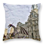 A Dragon In Philly Throw Pillow