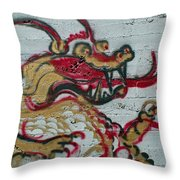 A Dragon On My Wall Throw Pillow