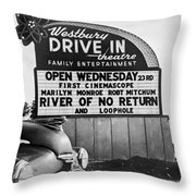 A Drive-in Theater Marquee Throw Pillow
