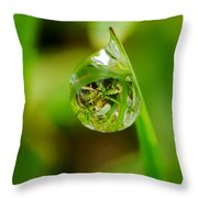 A Drop Of Water For Every Blade Of Grass Throw Pillow