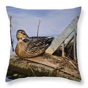 A Duck With Style Throw Pillow