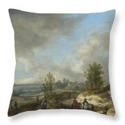 A Dune Landscape With A River And Many Figures Throw Pillow