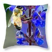 A European Honey Bee And It's Flowers Throw Pillow