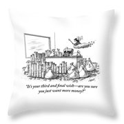 A Fairy Is Seen Talking To A Man Seated Throw Pillow