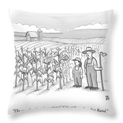 A Farmer And His Daughter Look At Cornstalks Who Throw Pillow