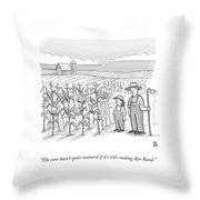A Farmer And His Daughter Look At Cornstalks Who Throw Pillow by Paul Noth