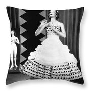A Fashionable Mannequin And Her Unclothed Version In The Backgro Throw Pillow by Underwood Archives