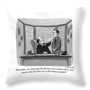 A Father Behind A Desk Addresses His Grown Up Son Throw Pillow