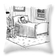 A Father Reads His Son A Bedtime Story Throw Pillow